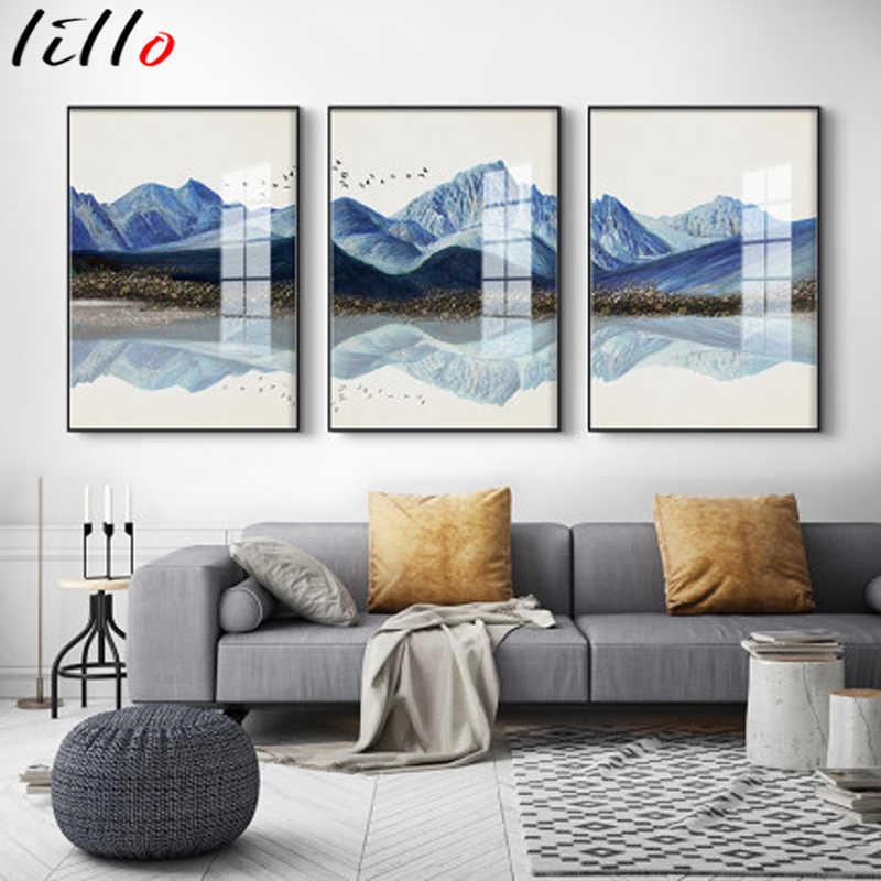 Современное минималистичное настенное искусство, холст с синими горами, художественная живопись, чернильные пейзажи, плакаты с принтом летающей птицы, картина для спальни, домашний декор
