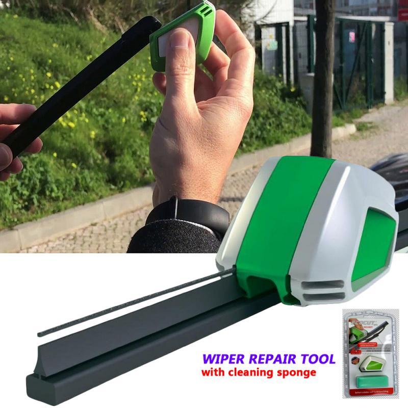 Ferramenta de reparo do cortador do limpador do carro pára-brisas lâmina de limpador cortador de borracha do pára-brisa reroove ferramenta com esponja de limpeza produtos automóveis