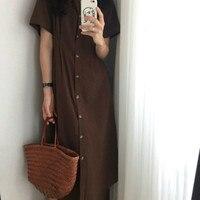 Korean Brief Women Summer Long Shirt Dress Female Vintage Bodycon Vestidos with Buttons Robe Femme Ete Sukienki Jurken