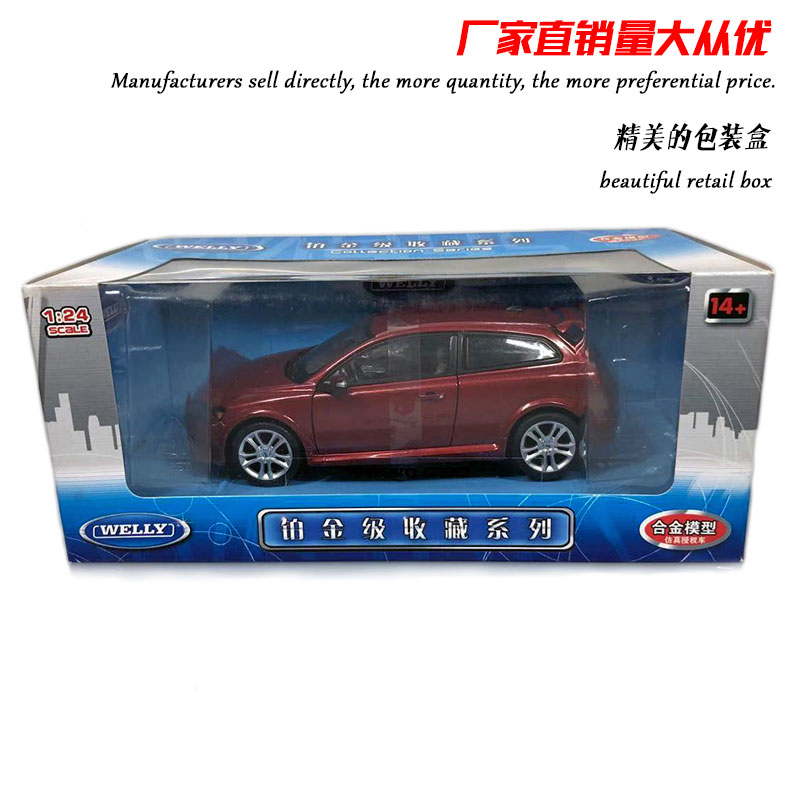 WELLY 1/24 Scale Car Model Toys VOLVO C30 Diecast Metal Car Model Toy For Gift/Kids/Collection