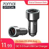 70mai-cargador de coche QC 3,0 con carcasa metálica de carga rápida, adaptador Dual USB para Huawei P30, 2 puertos USB, 70mai