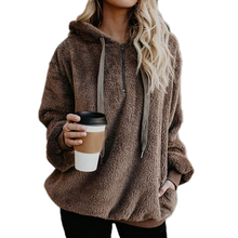 Polyester With Siamese Cap Women Sweatshirts Pullover Thick Loose Hoodies Patchwork Solid For Girls
