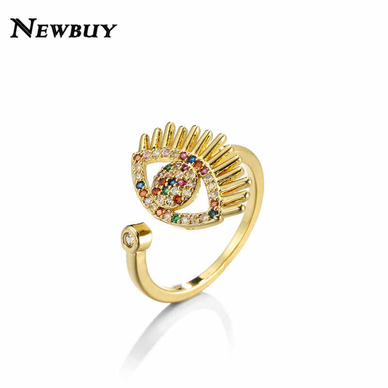 NEWBUY แฟชั่นสายรุ้งสี CZ หินสำหรับผู้หญิงสีทองมงกุฎ Evil Eye เปิดแหวนปรับขนาด PARTY เครื่องประดับ