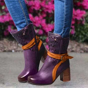 Women Winter purple leather Hallow Med Heels short Boots Flower Retro Belt Buckle Shoes Ladies Soft Comfortable Retro boot