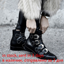 2020 Rivets Faux Leather Booties Buckle Straps Thick Heel Black Ankle Women Boots Studded Decorated Woman Boots Motorcycle