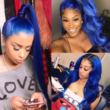 Blue 360 Lace Front Wig Straight Colored Human Hair