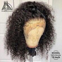 Peruca frontal do laço curto do bob do laço de 180 densidade onda profunda perucas do cabelo humano da parte dianteira do laço 13x4 perucas frontais do laço com cabelo do bebê