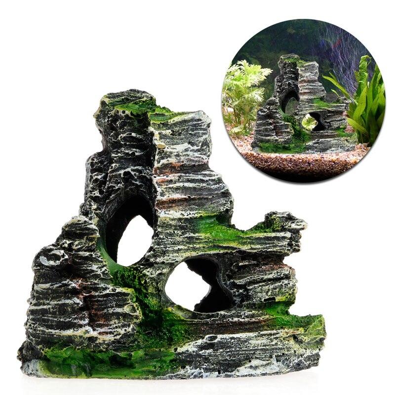 Аквариум с видом на горы Рокери скрывающая пещера дерево Аквариум Украшение 77UD