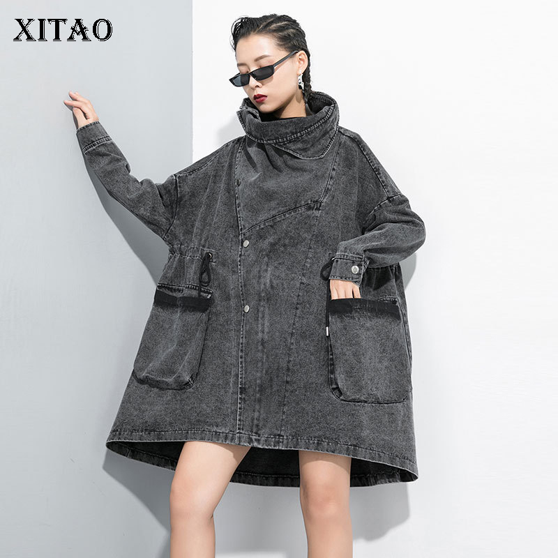 XITAO Irregular Split   Trench   Women Pocket Plus Size Bat Sleeved Elegant Small Fresh Casual Minority Single Breast Coat GCC2117