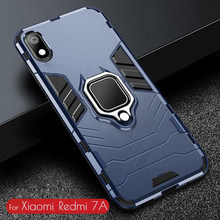 Dla Redmi 7A Case pancerz PC pokrywa TPU Rim Ring Finger Holder etui na telefon dla Xiaomi Redmi 7A 7 A pokrywa trwały, odporny na wstrząsy zderzak