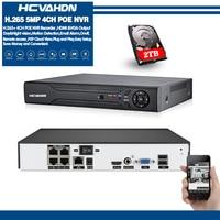 HCVAHDN 4CH 4MP 5MP PoE NVR For POE IP Camera system Surveillance H.265 48V 802.3af ONVIF CCTV NVR XMEYE APP 2TB HDD