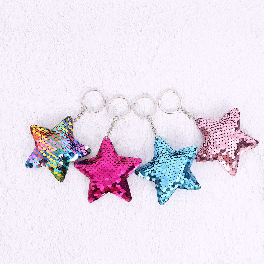 1Pcs Cute Pentagram Keychain Glitter Sequins Car Bag Accessories Key Ring Key Holder Party Gift Jewelry For Men Women Ornaments
