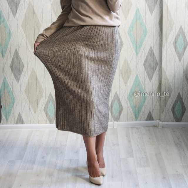 GIGOGOU 60-80CM Elastic Band Women Autumn Winter Warm Knitted Straight Skirt Ribbed 2