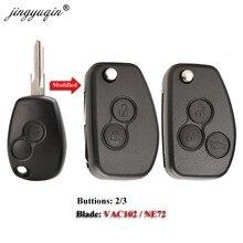 Jingyuqin carcaça de chave modificada, para renault dacia modus logan clio nissan 2/3btn, flip remoto estojo fob
