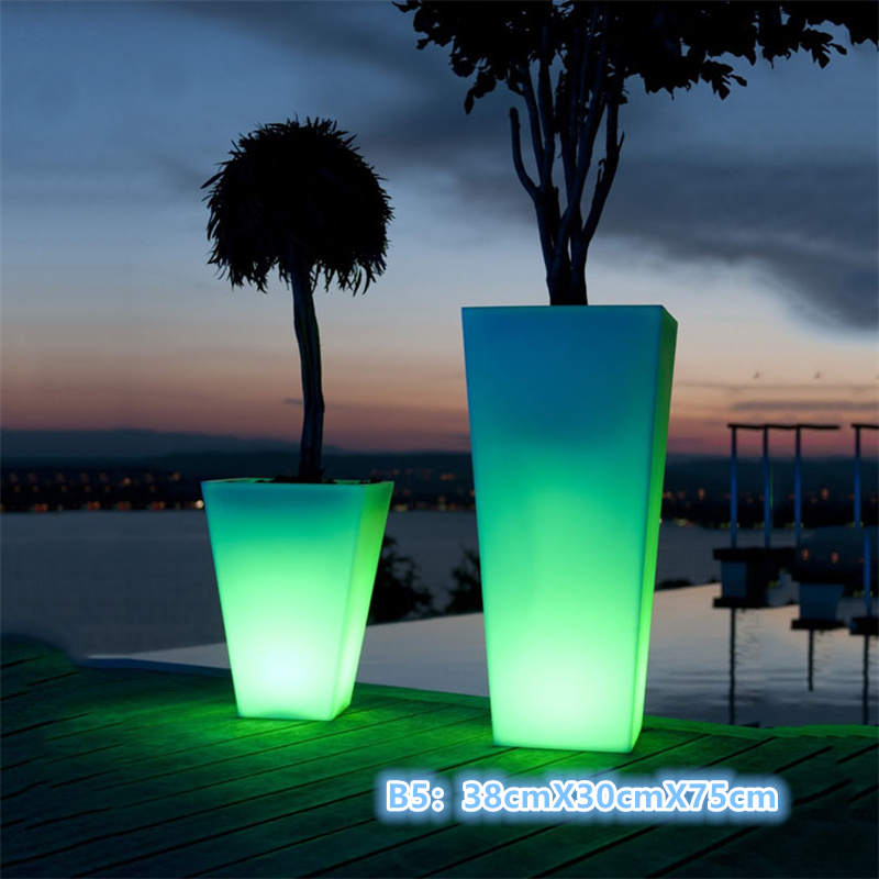 Outdoor Rechargeable Led Plant Pot Light/ Illuminated Planters/ Led Decor Flower Pot For Party