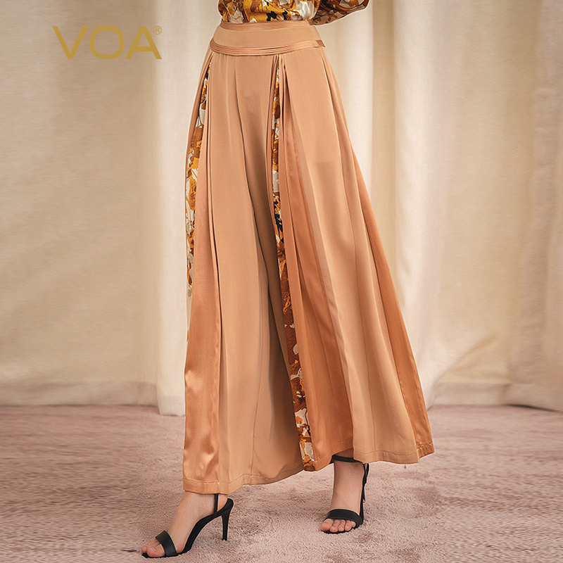 VOA 40m/m Silk Mid-waist Long Bump Stitched Tucker Pleated Atmospheric Casual Wide-legged Pants K1082 Women Bottoms Pants