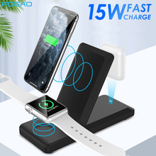 FDGAO 3 in 1 Qi Wireless Charger Pad for iPhone 11 X XS XR Apple Watch 5 4 3 2 Airpods Pro 15W Fast Charging Stand Dock Station