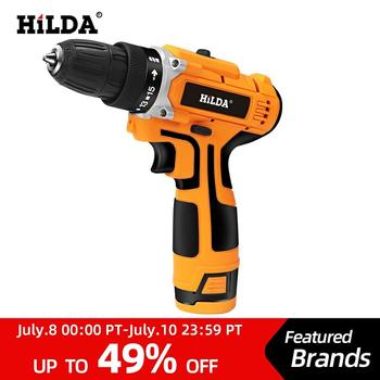 цена на HILDA 12V Electric Drill With Rechargeable Lithium Battery Electric Screwdriver Cordless Screwdriver Two-speed Power Tools