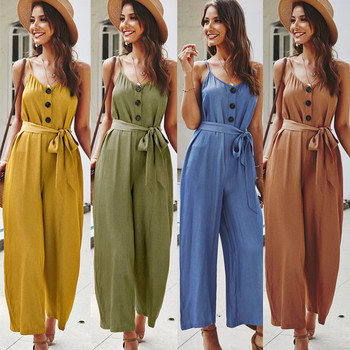 women sexy spaghetti strap sleeveless wide leg jumpsuit summer elegant solid casual rompers pockets playsuits loose overalls 2020 Boho Summer Women Sexy Elegant Sleeveless Jumpsuit Rompers Casual Strap Bandage High Waist Wide Leg Pants Overalls Female