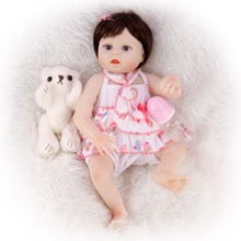 47CM lifelike reborn toddler bebe doll baby girl silicone vinyl Model stuffed body bath toy Christmas gifts cute Simulation doll 2018 new popular cute lovely toy 22 inch reborn baby doll vinyl silicone lifelike toy girl for children accompany