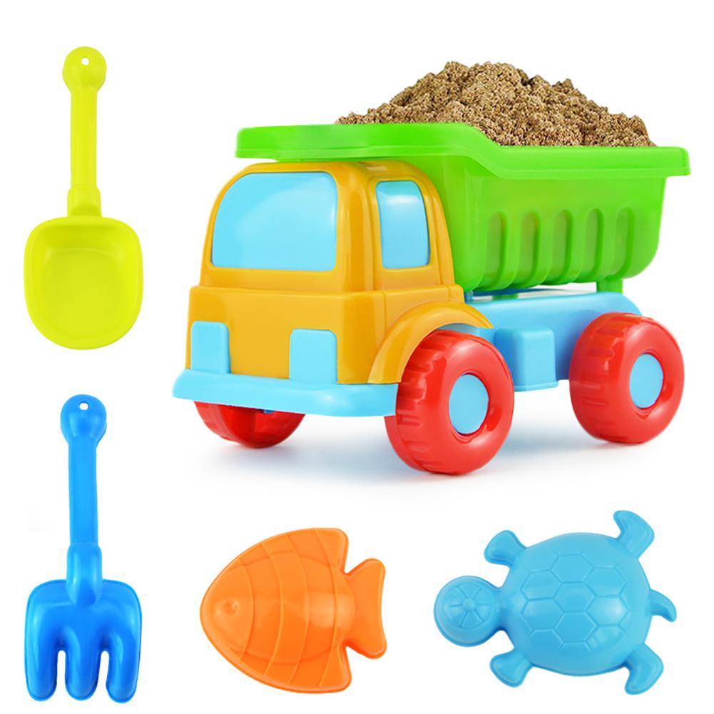 5Pcs/Set Kids Beach Truck Shovel Rake Animal Molds Kit Garden Sandpit Pool Toy Improves Kids' Dexterity And Hand Strength