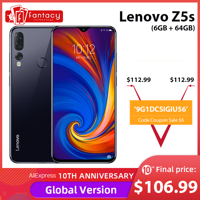 "Global Version Lenovo Z5s 6GB 64GB Snapdragon 710 AIE Octa Core Mobile Phone 6.3"" 1080P Display Rear Triple Cameras"