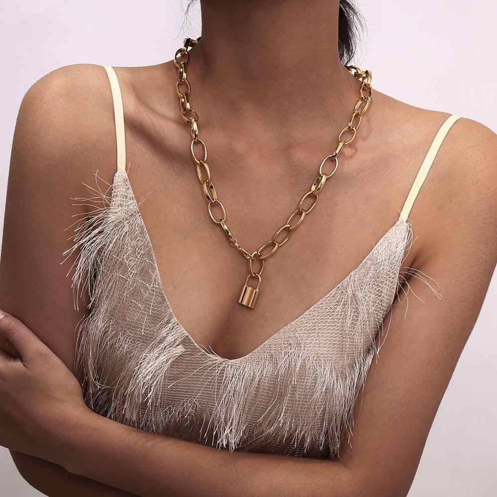 Lacteo Punk Golden Lock naszyjnik kobiety 2019 modny naszyjnik Chunky obojczyka łańcuszek Choker naszyjnik damska biżuteria