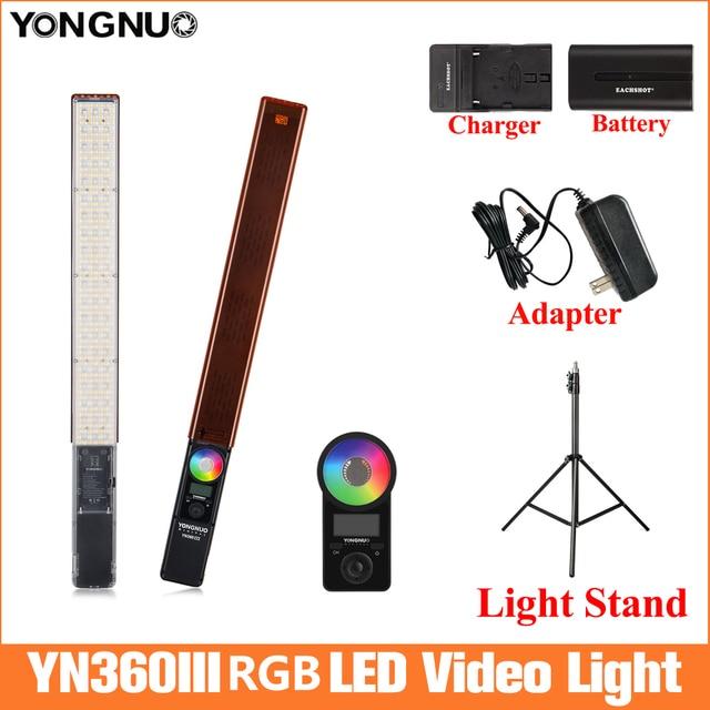 永諾YN360 iiiハンドヘルドアイススティックledビデオライト 3200 に 5500 5400k ledライト電話によって制御アプリ