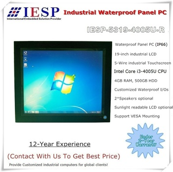 IP65 / IP66 waterproof panel PC, 19 inch LCD, Core i3-4005U CPU,4GB DDR3L RAM,500GB HDD, customized industrial panel pc