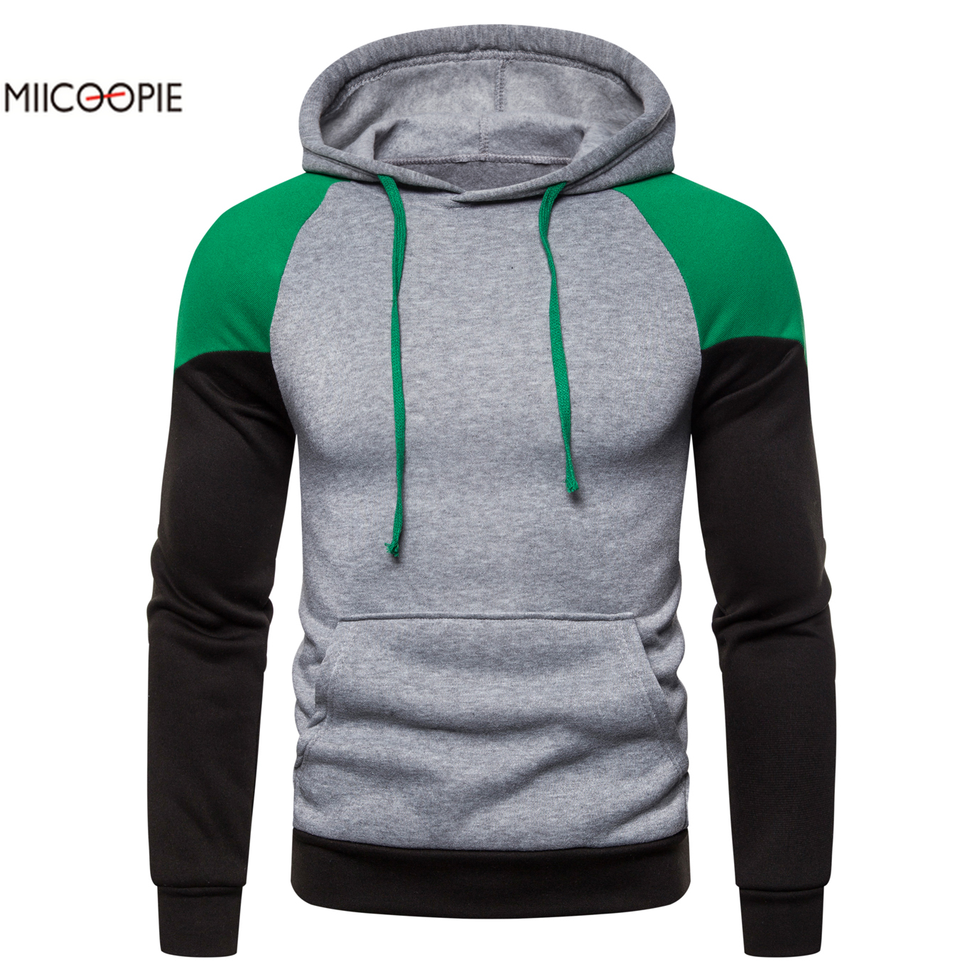 Miicoopie 2019 Mens Hoodies Autumn Brand Male Long Sleeve Patchwork Sweatshirt Hoodies