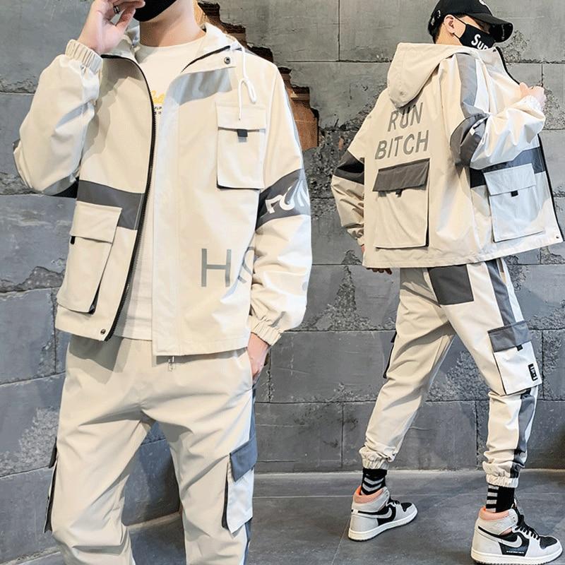 Men's Tracksuit Set Hooded Loose Jacket+Pants Sporting Suit Two Piece Male Hip Hop Street Big Pocket Workwear For Men Clothing
