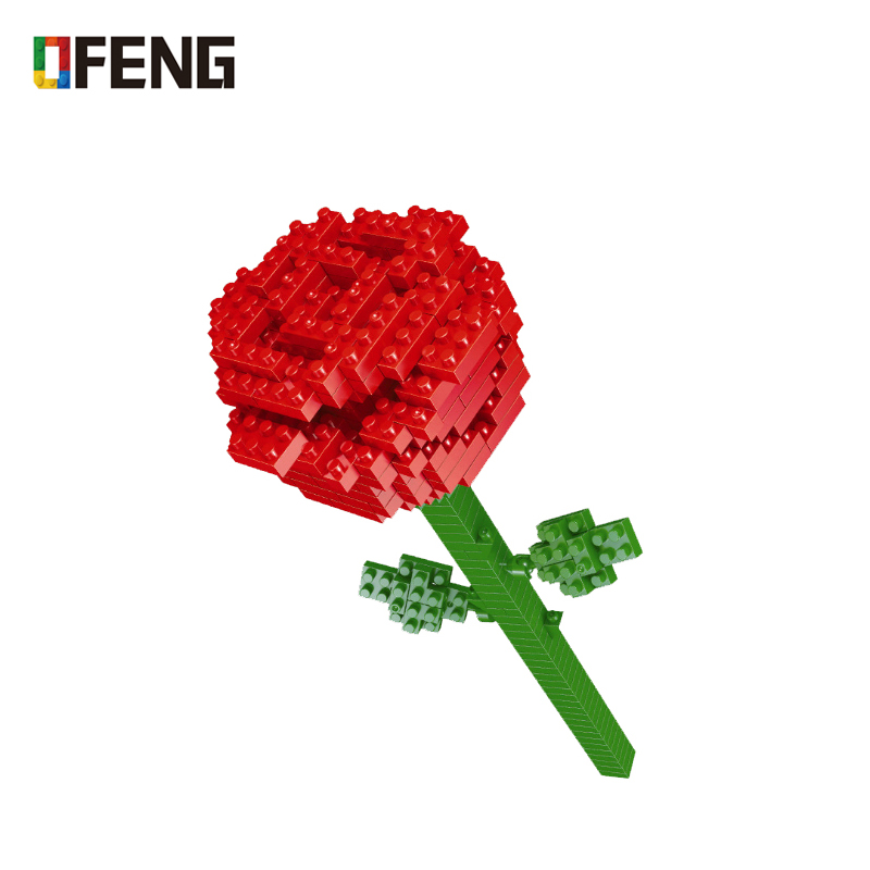 Valentines Day present Sexy rose mini building blocks Full of love Courtship birthday gift splice brick Assembly Toy CrystalBlocks   -