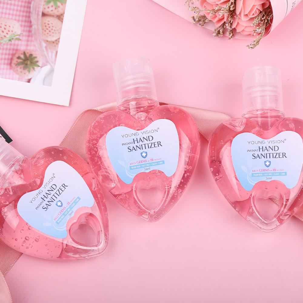 50ml Travel Portable Hand Sanitizer Skin Care Gel Disposable Sweetheart Shape Washing Hand Soap Hand Clean Household Use