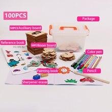 100 шт игрушки для рисования детские раскраска деревянная доска