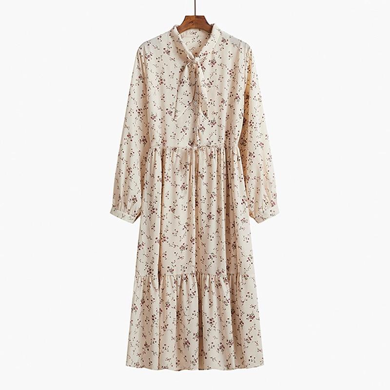 Yitimuceng Vintage Dresses for Women 2021 Spring Floral Print Bow Long Sleeve Black Party Elastic Waist Plus Size Woman Dress 8