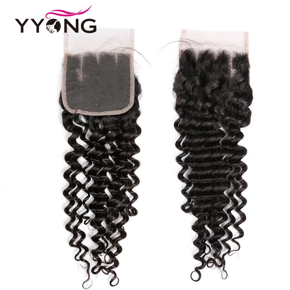 Yyong Hair Deep Wave 3 Bundles With Lace Closure  Bundles Medium Ratio   With Closure 4x4 inch 5