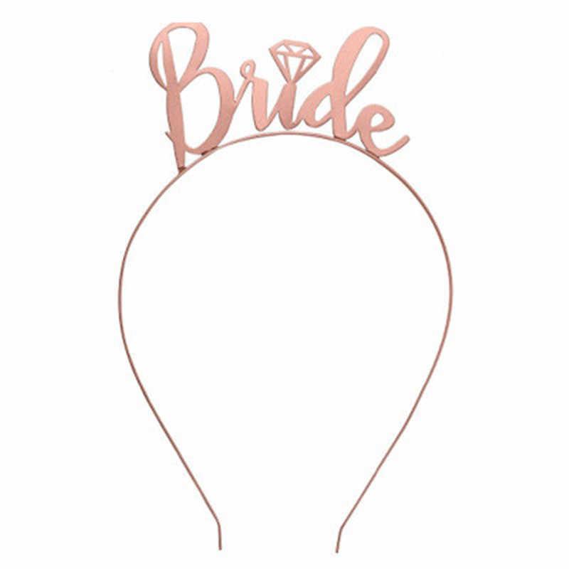 הכלה שושבינה כתר & רעלה & אבנט & Tatto רווקות תרנגולת מסיבת צוות כלה להיות כלה בנות חתונה קישוט BE04