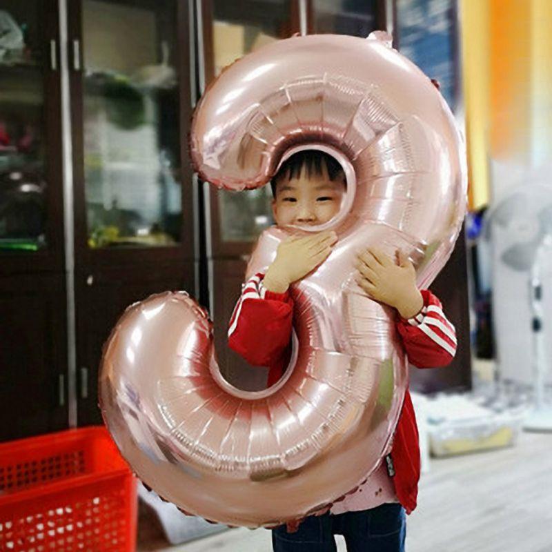 40 pulgadas globo de papel de aluminio grande número de globo de papel de aluminio Rosa oro plata Digital fiesta de cumpleaños decoración piscinas flotador - 2