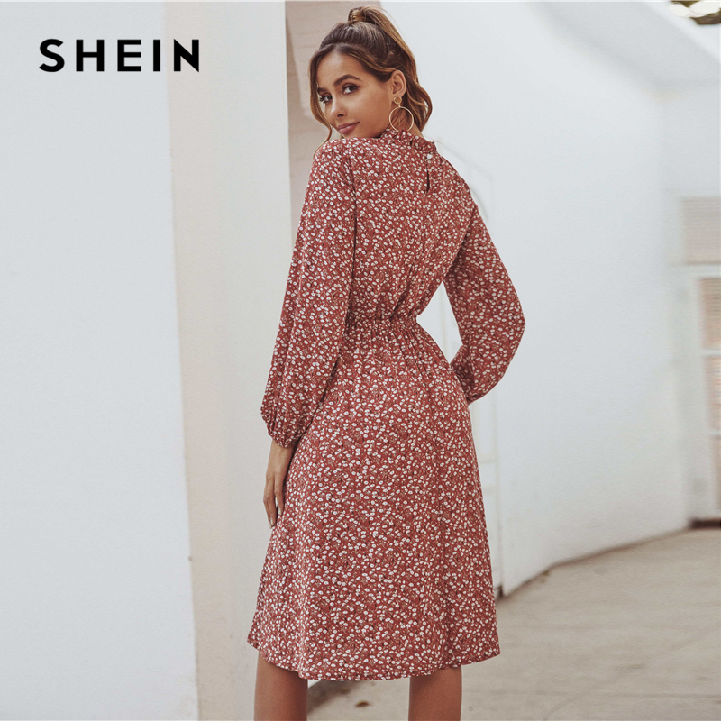SHEIN Red Ditsy Floral Print Stand Collar Casual Dress Women 2020 Spring High Waist Bishop Sleeve A Line Frill Midi Dresses 2