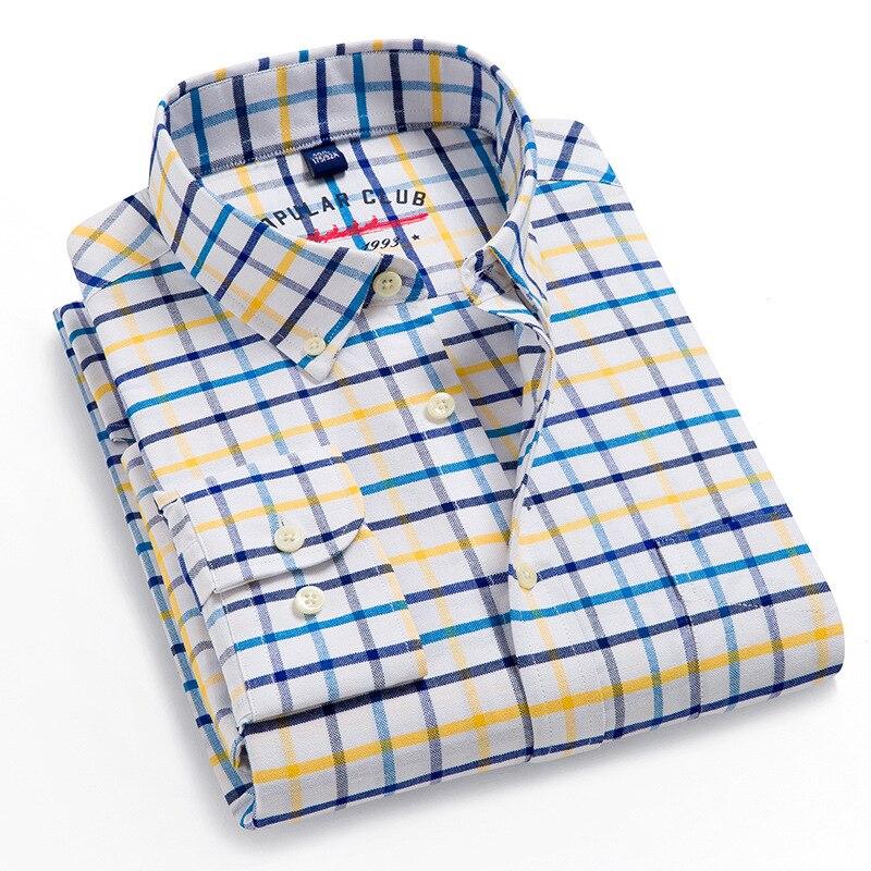 Мужская классическая рубашка из 100% хлопка, повседневная классическая рубашка из ткани Оксфорд с длинными рукавами и карманами, на пуговица...