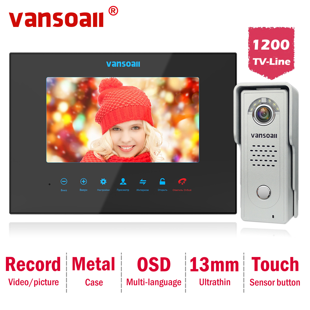 Vansoall Video Door Phone Support SD Card  Video Doorbell  With 7 Inch Monitor And 1200TVL Metal Doorbell Video Intercom