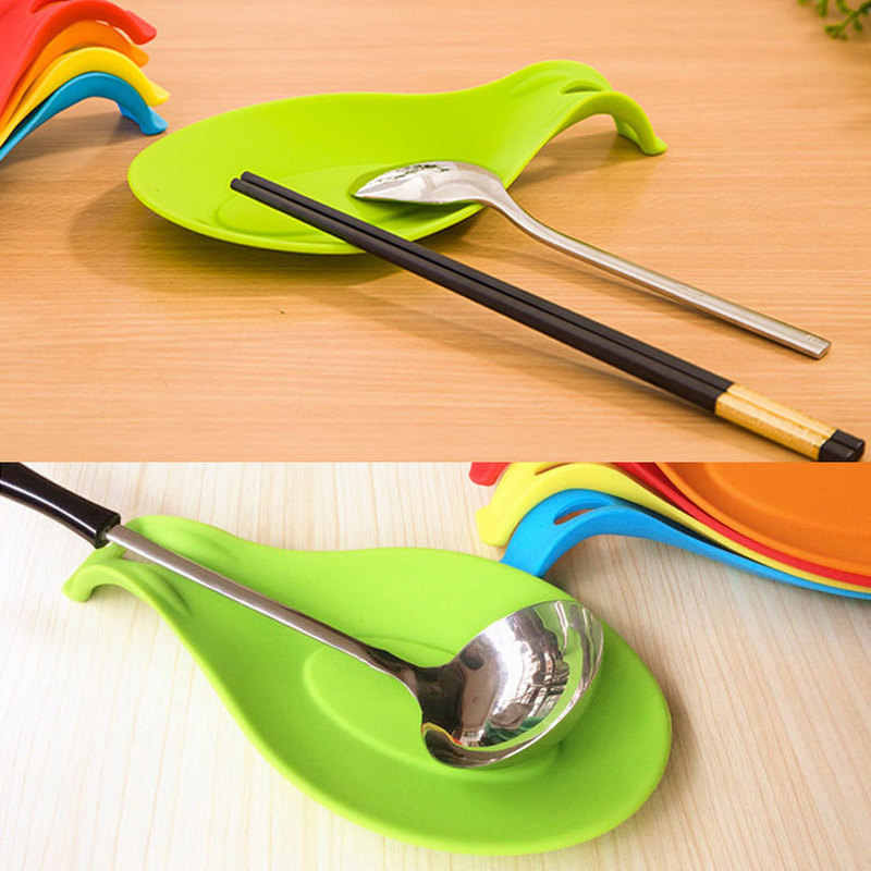 Calidad Alimentaria de silicona resistente al calor cuchara de descanso utensilio espátula titular Gadget estante de almacenaje para cocina herramienta ayuda hogar organizador