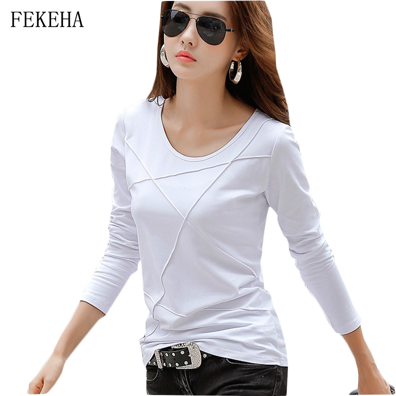 Autumn New Women Tee T Shirt Femme Slim Long Sleeve Black White Blue Office T Shirt Lady Tops Cotton T-Shirt Casual High Quality