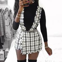 Сексуальная твидовая Осенняя юбка с высокой талией, юбка-брюки для женщин, трапециевидная клетчатая юбка на лямках, Женская Полосатая мини-юбка, винтажная юбка