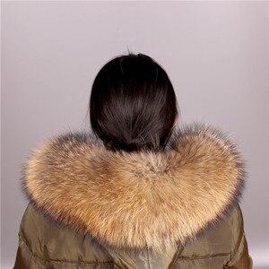 Image 1 - Cuello de piel de mapache Real para mujer, piel Natural gris, Collar, chal de piel auténtica, cuello de mapache, piel