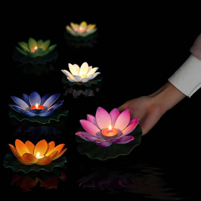 10pcs Multicolor silk lotus lantern light  floating candles  pool decorations Wishing light birthday wedding party decoration