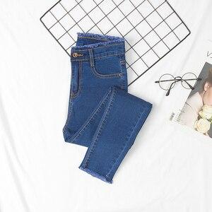 Image 2 - ג ינס נשים עיפרון סקיני Slim ציצית כפתור לטוס מוצק נשים Bottoms בסיסי ז אן קלאסי שיק קוריאני סגנון פנאי אופנתי שיק