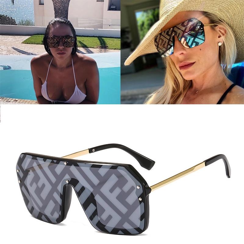 DPZ One Piece Designer With F Letters Square Sunglasses Women Oversized Big Frame Vintage Sun Glasses Men Mirror Oculos De Sol