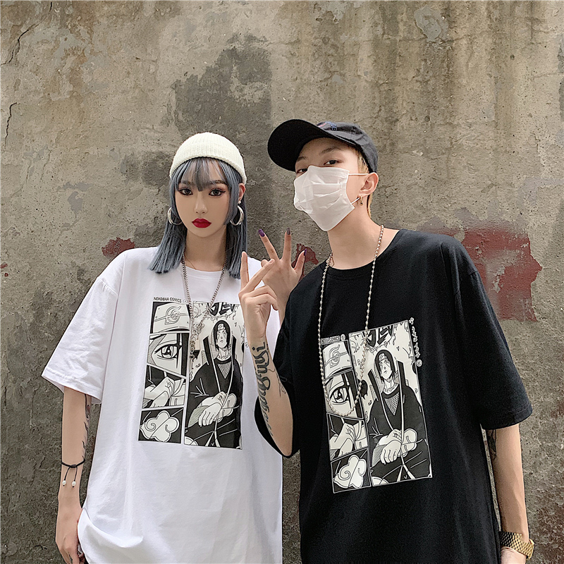 Summer 2019 New Cotton Naruto  Mens T-shirt Oversized Short Sleeve Cartoon Anime Print Clothes Fashion Hip Hop White Couple Top