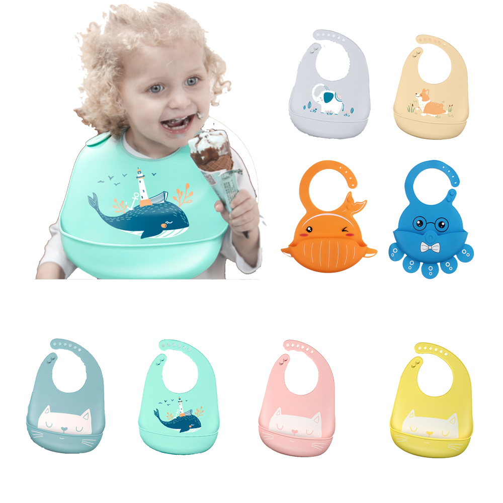 Baby Stuff Waterproof Silicone Bib Feeding Baby Newborn Cartoon Aprons Adjustable Baby Bibs Burp Cloths Bandana Bibs Baby Bibs